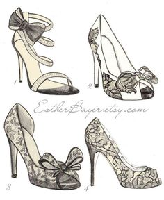 High Heel Shoe Fashion Illustration Original Black & White Valentino Drawing Custom Print. $15.00, via Etsy.