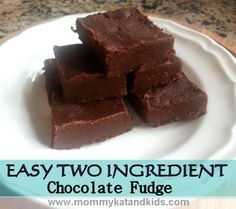 Easiest Ever Two Ingredient Chocolate Fudge - it tastes great too!!!!! Yummo