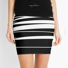 Organic No.9 Black & White by Menega Sabidussi | Graphic print #skirt @redbubble  Women Casual Designer Print Clothing #fashion #apparel #wearableart #geometric #miniskirt #redbubble