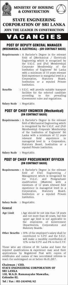Chief Engineer Job Description Sri Lankan Government Job Vacancies