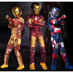 Chirldren's The Avengers Iron Man Muscle Costume Suit Cosplay For Boy's Halloween Masquerade Party