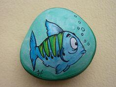 """Galet """"Le poisson qui fait des bulles"""" Ryboun"""