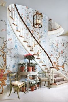 A sweeping staircase with a traditional Mural Wall Treatment. Think of the walls as Art...