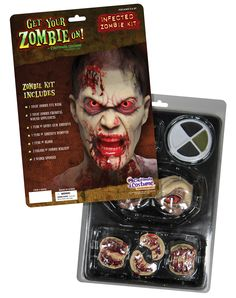 No matter what you wear if you really want to make your Zombie costume realistic, you need this Infected Zombie Kit. It's hard to look rotting and decrepit without a little extra help.