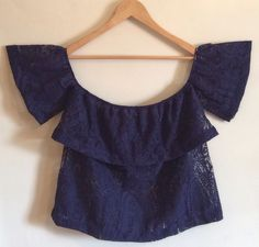 OFF THE SHOULDER Blouse Size M Navy Blue Lace Top Sexy Women Casual Party Girl #Unbranded #Blouse #CasualClubwearOccasion