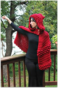 Crochet PATTERN Crocodile Stitch Hooded Cape - Permission to Sell Finished Items, $6.00
