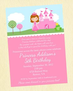 Princess Birthday Party Invitation...designed my own and used this wording!