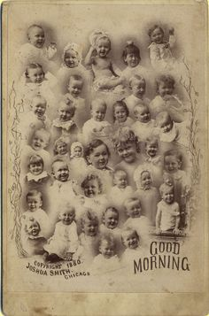 Antique advertising babies / infants composite cabinet photo, 1880.