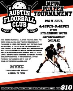 Join Austin Floorball Club for its semiannual New Players Tournament on Sunday, May 5, 2013, from 4:45 p.m. to 8:45 p.m. at the Millennium Youth Entertainment Complex. Equipment provided. Athletic shoes and attire recommended. The tournament is a beginner friendly event; no experience necessary. Each team will play four short games.For more information or to register, visit www.austinfloorballclub.com. Registration fee is $10. Cultural Events, Athletic Shoes, Youth, Join, Sunday, Entertainment, Club, Stickers, Games