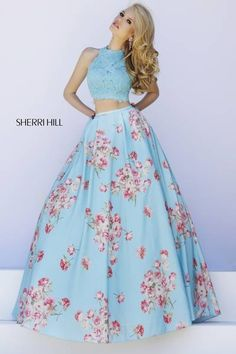 Gorgeous Sherry Hill sky blue lace crop top with floral print ball gown skirt 2-pcs.