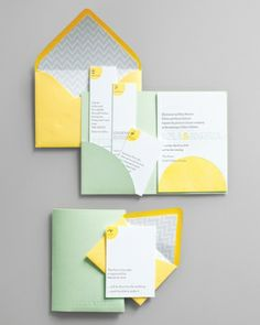 """Suite Smarts  What's not to love about a handy pocket, whether it's hidden within the folds of a dress or organizing all the pieces of your stationery? Regas NY's """"Modern Mint"""" makes it easy to inform guests about multipart events, as you can simply slip the details for the rehearsal dinner or next-day brunch inside. If you're hosting a single-date affair, use the flap for your reception and RSVP cards instead."""