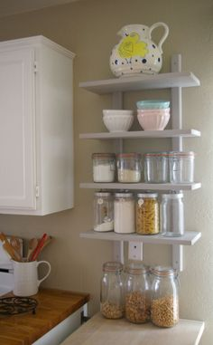 IKEA Varde wall shelf hack. This is exactly what I want to do for a couple of narrow walls in my kitchen. Cut the shelf into two.: