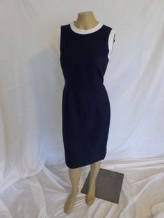 Vintage OLEG CASSINI Navy wiggle dress BLUE and white