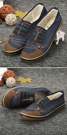 best service 0f2b2 07f50 Hot-sale Denim Color Match Button Canvas Slip On Flat Casual Shoes