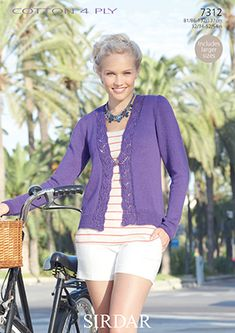 Lace Edge Long Sleeve Cotton Cardigan Knitting Pattern - One Button Fastening - Sirdar 7312 Long Sleeve And Shorts, Short Sleeve Cardigan, Cotton Cardigan, Knit Cardigan, Cardigan Sweaters, Knitting Yarn, Knitting Patterns, Crocheting Patterns, Weaving Patterns