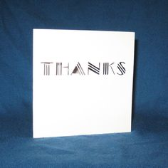 Thanks Card, Art Deco Style, Hand Cut Card    The perfect way to say thanks-with a card! Great for any fan of the 1920s, Great Gatsby or Art