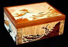 Multi-paneled marquetry jewelry box with interpretations of 18th century Japanese woodblock prints - CLICK TO ENLARGE