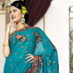 Teal Green Faux Georgette Saree with Blouse Online Shopping: SYC1694