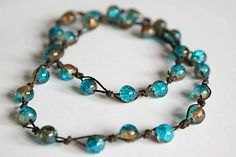 Aqua Blue & Light Coffee Crackle Glass Beads