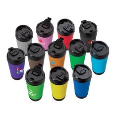 Kritzer Marketing from New York NY USA Spill-proof 17 oz. polypropylene Perka mug with soft-grip insulated sleeve and flip-up sipper lid. Custom Travel Mugs, Trade Show Giveaways, Promotional Giveaways, Personalized Products, Corporate Gifts, Breast Cancer Awareness, Red And Pink, Drinkware, Stress Ball