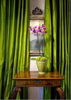 Pantone 2017, color of the year, greenery, curtains, interior, interior design, orchid, decor, decoration
