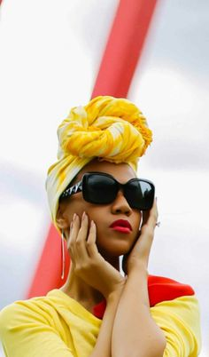 Yellow clothing and turban with shades strong lips My Hairstyle, Scarf Hairstyles, Curly Hair Styles, Natural Hair Styles, Twisted Hair, African Head Wraps, Pelo Afro, Head Wrap Scarf, Turban Style