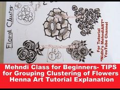 """YouTube unique and beautiful cluster group of flowers and leaves shading techniques and tips. Mehndi class online for free. Search """"Nidhi's MehndiART"""" YouTube channel for all kind of mehndi henna design tutorial. #fashion #jewellery #trend #bridal #bride #wedding #marriage #festival #tradition #beautiful #girl #london #paris #canada #us #india #surat #ahmedabad #uk #arabic #floral #gulf #dubai #henna #mehndi #mehandi #art #drawing #tattoo #design"""