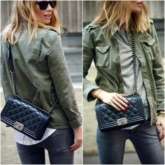 Daily Look « Anine's World.  Anine Bing army jacket, Chanel Boy bag.