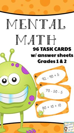 3 sets of mental math task cards. Aligned to CCSS for and grade. Great for centers, small group, and whole group. Ask students to explain their thinking. Math Teacher, Math Classroom, Teaching Math, First Grade Math, Grade 2, Second Grade, Math Resources, Math Activities, Math Enrichment