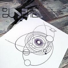 #solar system #planet #Galaxy tattoo #Science tattoo #bunette