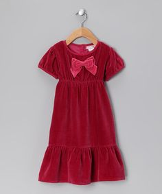 Take a look at this Pink Bow Velour Dress - Toddler & Girls by textures on #zulily today!