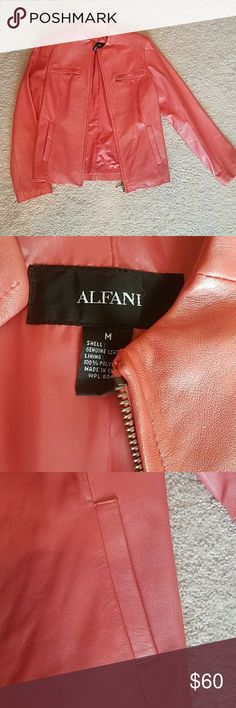 Alfani coral leather jacket Cute Alfani 100% leather jacket.  Beautiful coral color. Great condition. Barely worn. Alfani Jackets & Coats Blazers