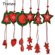 Tronzo 12 шт. Новогодние товары дерево висит деревянные Ткань Белл сердца кулон Новогодние товары Аксессуары для домашнего украшения Новогодни...(China)