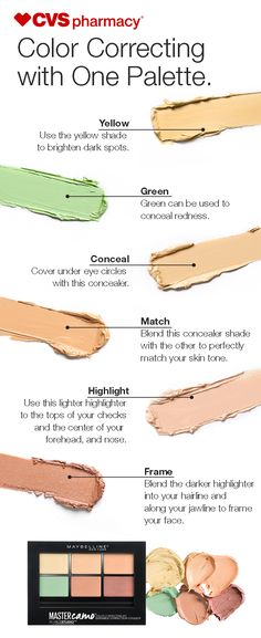 Color correcting is made easy with the Master Camo Colour Correcting Kit from Maybelline. Use each shade to balance out  imperfections and even out  your skintone.