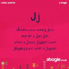 Today's nonsense poem for the letter J. The sound J is often developed a little later as the sound is more challenging and can also be confused with Ch. J is a simple shape to write however the direction it goes can be confusing and children will often write it back to front. #nonsense #poetry #speech #kidsofinstagram Preschool Poems, Preschool Letters, Phonics Rhymes, Tongue Twisters For Kids, Letter J Activities, Nonsense Poems, J Words, Brain Teasers For Kids, English Phonics
