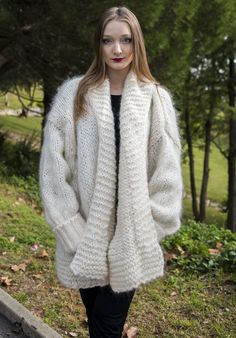 Luxury Extra Large  Hand Knitted Longhair Mohair Coat Cardigan  by LanaKnittings #Handmade #BasicCoat