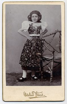 Girl In The Moravian Folk Costume    This girl is dressed in the folk costume of the moravian region Haná.   Photographic studio Wüst in Olomouc(Moravia, Czrchia). CDV circa 1900.   (lbk)