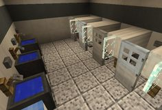 Public Restroom - Everything About Minecraft Villa Minecraft, Minecraft City Buildings, Minecraft House Plans, Minecraft Mansion, Easy Minecraft Houses, Minecraft House Tutorials, Minecraft Room, Minecraft House Designs, Amazing Minecraft