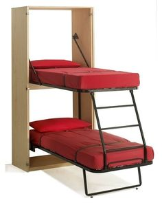 Murphy Bunk Beds ~ 11 Space Saving Fold Down Beds for Small Spaces, Furniture Design Ideas. Great way to add kid beds in our travel trailer! Small Room Furniture, Small Room Decor, Space Saving Furniture, Furniture Design, Diy Furniture, Folding Furniture, Modern Furniture, Bedroom Furniture, Tiny House Furniture