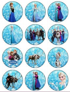 Frozen Edible Image cupcake toppers made from wafer paper. Perfect for a frozen birthday party. Disney Frozen Cupcakes, Frozen Cupcake Toppers, Olaf Frozen, Frozen Cake Topper, Frozen Theme Party, Frozen Birthday Party, Birthday Parties, Elsa Birthday, Bottle Cap Images