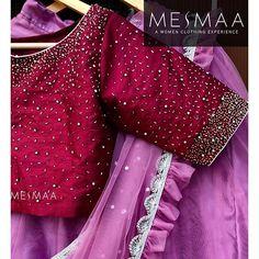 Exploring more new styles of hand magic. Pattu Saree Blouse Designs, Stylish Blouse Design, Fancy Blouse Designs, Bridal Blouse Designs, Blouse Neck Designs, Lehenga Blouse, Designer Blouse Patterns, Exploring, Bugle Beads