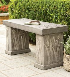 Cast Stone Garden Bench With Dragonfly And Cattail Motif