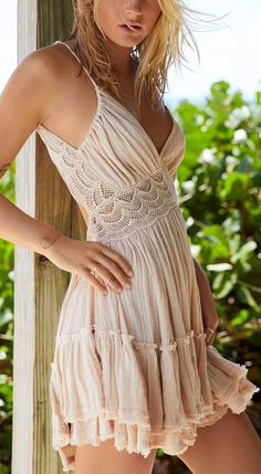 Crochet gauzy ruffle dress