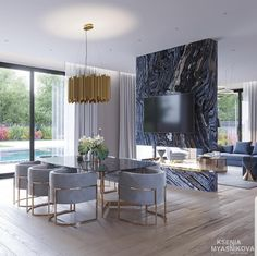 40 Best Contemporary Dining Room Design For Your New Home Genç Odası Interior Design Minimalist, Luxury Interior Design, Luxury Home Decor, Classic Interior, Interior Modern, Kitchen Interior, Interior Ideas, Luxury Dining Room, Dining Room Lighting