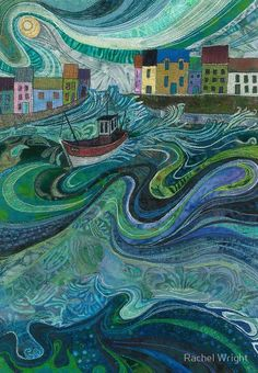 """""""Tossed About - Fishing Boat and Waves Embroidery - Textile Art"""" Art Prints by Rachel Wright Landscape Art Quilts, Quilt Modernen, House Quilts, Thread Painting, Oeuvre D'art, Quilting Designs, Land Scape, Collage Art, Zentangle"""