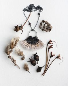 natural hand crafted pendant necklace fashioned after a Thistle... by; Eva