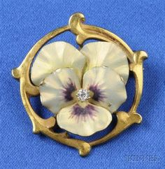 Art Nouveau Enamel 14kt Gold and Diamond Pansy Brooch, Krementz & Co.