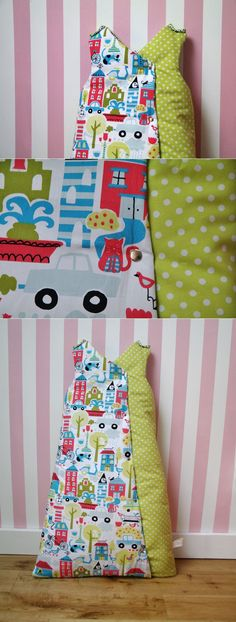 baby sleeping bag, town pattern