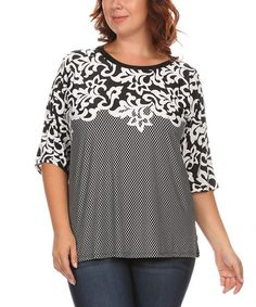 Another great find on #zulily! Black & Gray Floral Top - Plus #zulilyfinds