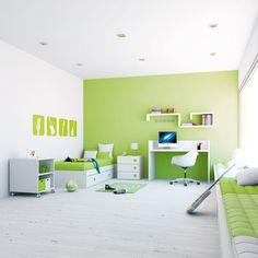 Habitaciones infantiles modernas y de diseño para niños en color verde. Etapa junior (+5 años) camita + book + escritorio + mesita. ¡Un lugar único! Ideas Hogar, Corner Desk, Kids Room, Space, Bedroom, Portal, Furniture, Baby Rooms, Home Decor